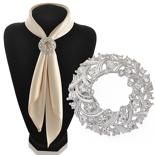 Gorgeous!!! Women's Round Sparkling Silk Ribbons Buckle Rhinestone Alloy Scarf Holder Clip(China (Mainland))