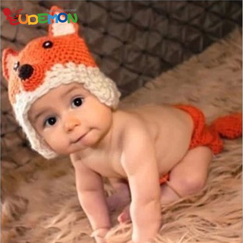 So cute newborn props for photography hand made baby hats new designer small fox baby hat fotografia fashion bonnet enfant(China (Mainland))