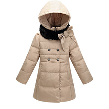 GirlsThicker Worm Down Jacket Outerwear 2015 winter New Fashion Children 4-14year clothing kids Casual Long Hooded Dowm Coat (China (Mainland))