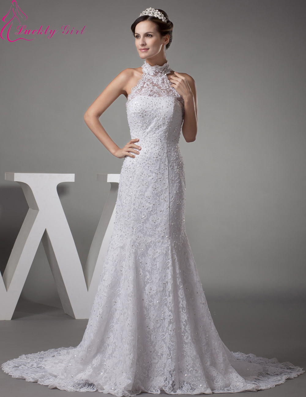 2015 new vintage wedding dress high neck sweetheart