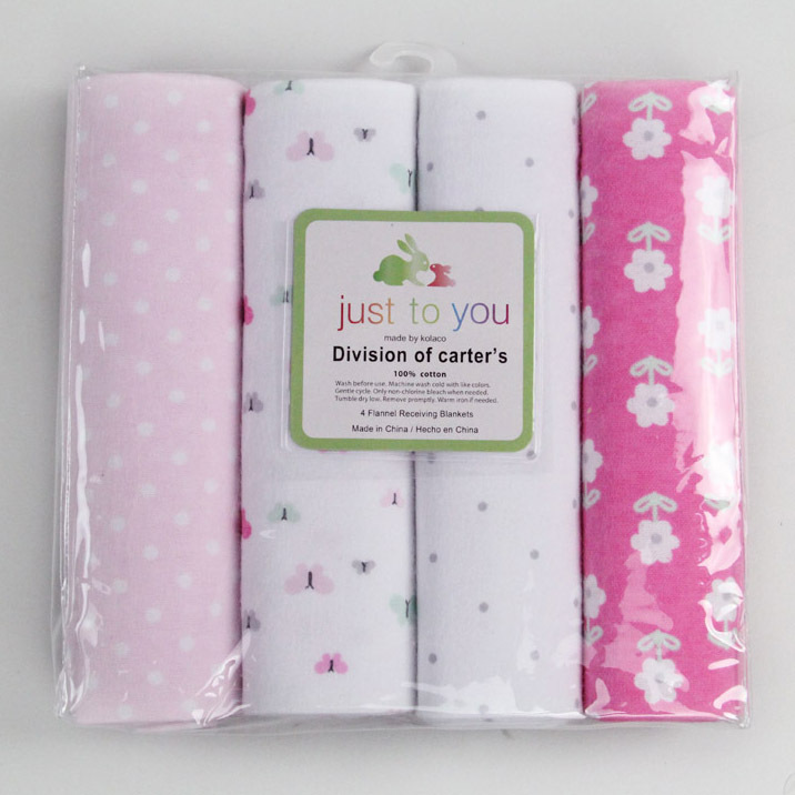4 pieces/ lot 100% cotton Receiving Blankets fashion 8 styles baby blanket swaddle blanket baby bed sheet toddler's bedding(China (Mainland))