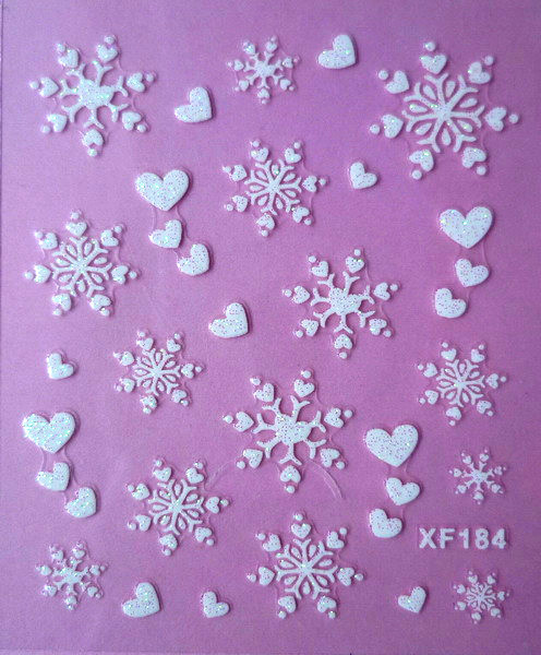 1 sheets Fashion 3D White Snowflake Nail Art Water Transfer Stickers Manicure Decal Wrap DIY Nail Art Decoration #XF184(China (Mainland))