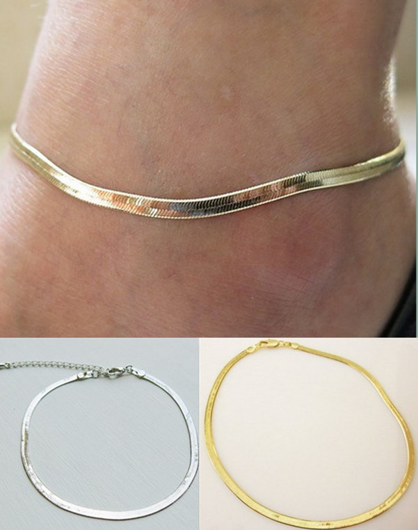 2015 NEW Women Girls Silver/Gold Chain Ankle Bracelet Anklet Foot Jewelry Beach(China (Mainland))