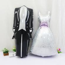 2pcs 57*118cm Groom Bride Wedding Dress Foil Balloon Marriage Decoration Balloon for Romantic Wedding Engagement layout(China (Mainland))