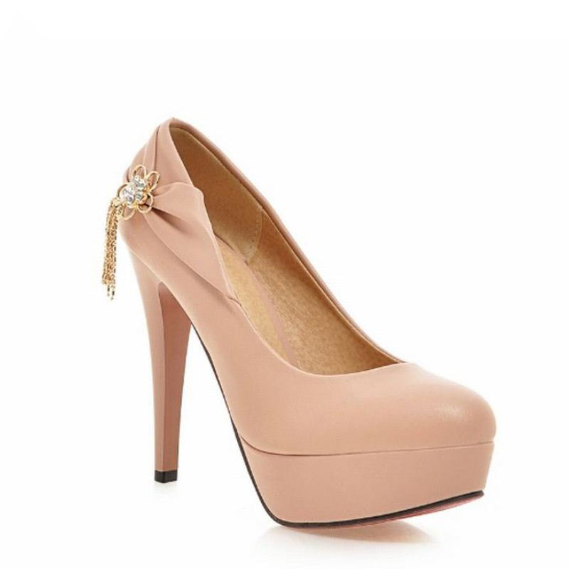 2016 New Red Bottom High Heels Metal Charm Women Pumps Spike Heels Platform Shoes Woman Size 34-39 Pointed Toe Women Shoes<br><br>Aliexpress