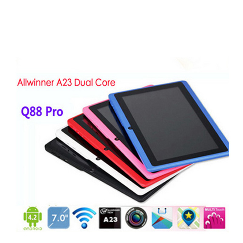 5 pcs/lot DHL Free Wholesale 7 inch Q88 Cheapest Tablet PC Dual Camera Allwinner A33 quad Core 512M 4GB Android 4.4+Gifts(China (Mainland))