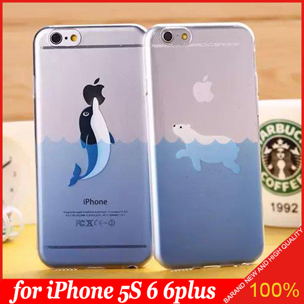 Free Shipping Japan Animal in The Ocean Swimming Dolphin Polar Bear Seals in the Ocean TPU Soft Case Cover for iPhone 5s 6 6plus(China (Mainland))