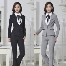 Formal Ladies Pant Suits for Women Business Suits Work Wear Blazer Sets Female Office Uniform Designs Gray Free Shipping
