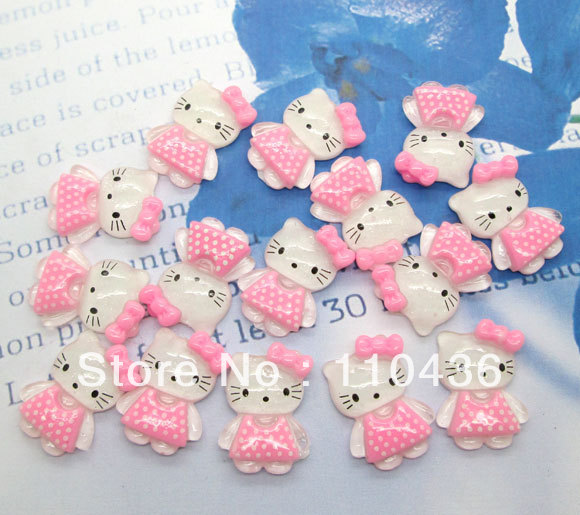 Free Shipping! 50 pcs Cute Pink Hello Kitty Kawaii Cabochons for DIY cell phone decor, hair accessories 28x18mm