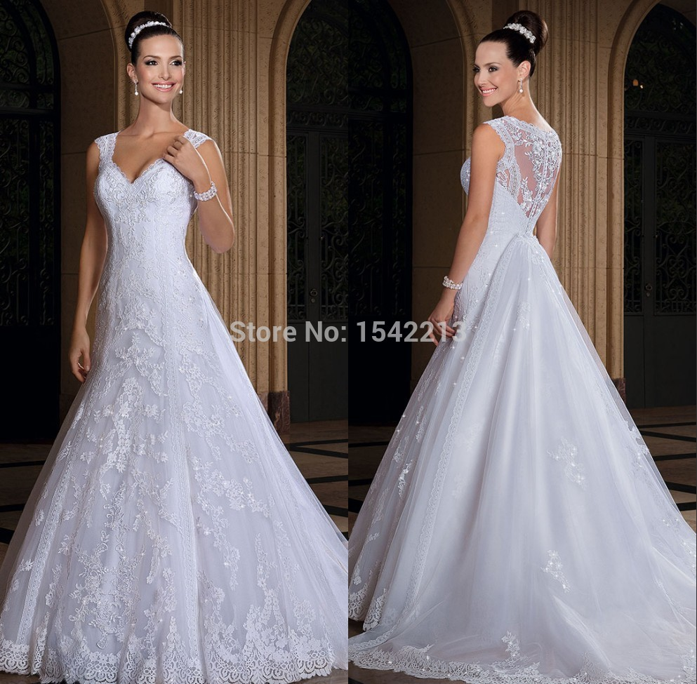 Lace Wedding Dress With Cap Sleeves Style D1919 : Style cap sleeve lace v neckline wedding dress princess bride gown