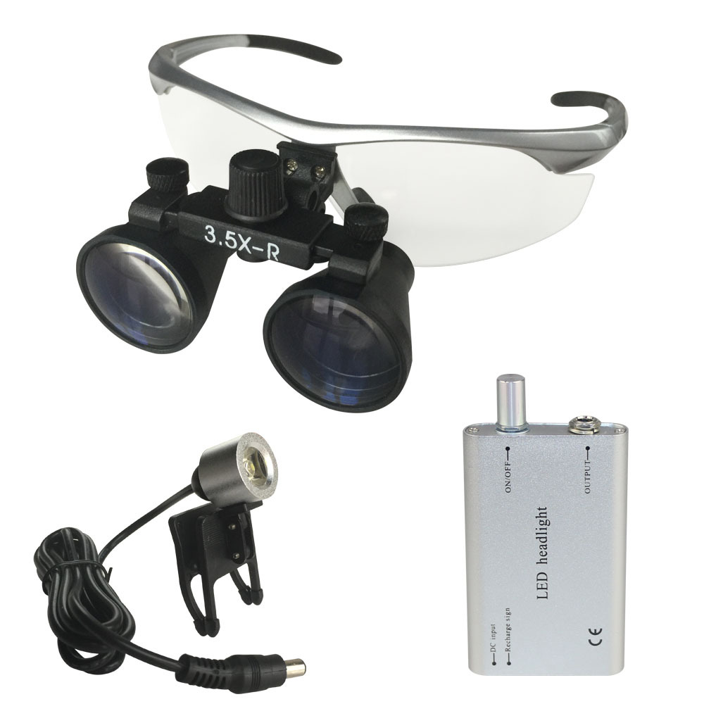 Free shipping Silver Color 3.5X420MM Dental surgical Loupe with Led Light(China (Mainland))