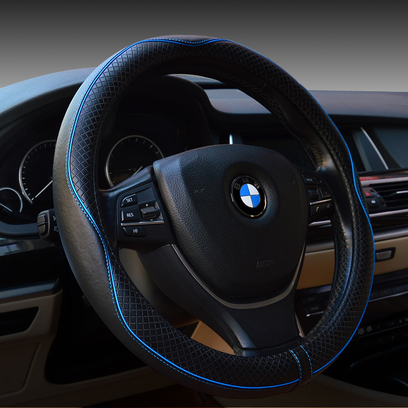Embossed Steering wheel Cover For BMW For CRV 2015 Interior Accessories Genuine Leather Steering Wheel Covers For CRV 2016(China (Mainland))