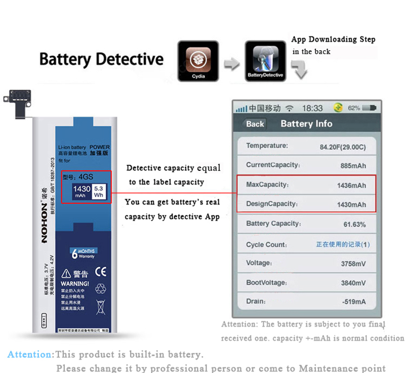 NOHON Battery For Apple iPhone 4S 4GS 1430mAh (9)
