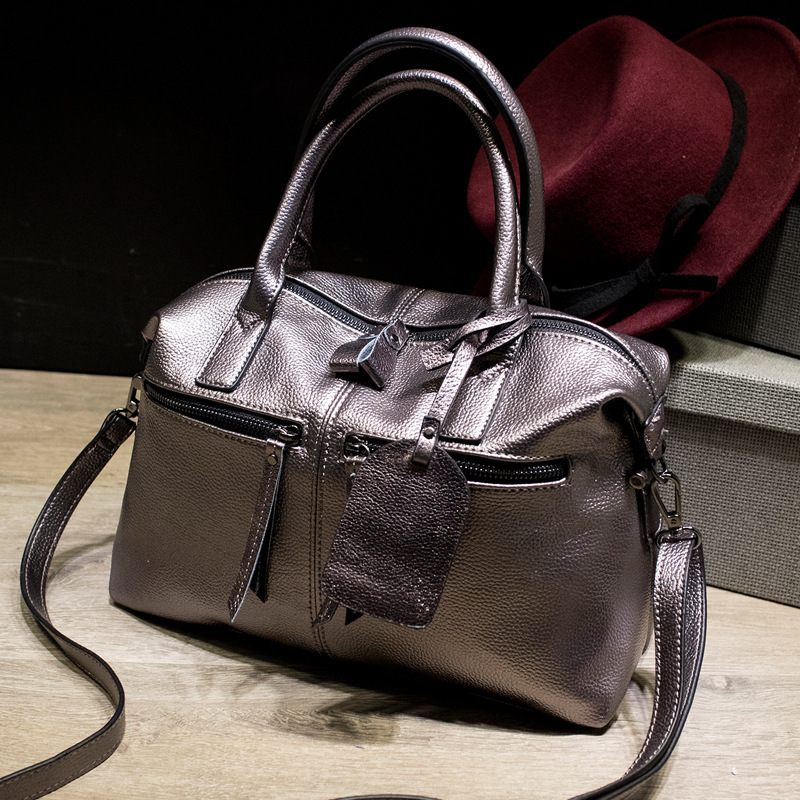 New Arrival Stylish Women Genuine Leather Bag Handbags Famous Brand Fashion Boston Lady Real Leather Tote Bags for Female Ladies(China (Mainland))