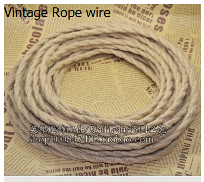 5m/lot 2x0.75 Vintage rope Wire Twisted Cable Retro Braided Electrical Wire Fabric Wire DIY pendant lamp wire vintage lamp cord(China (Mainland))