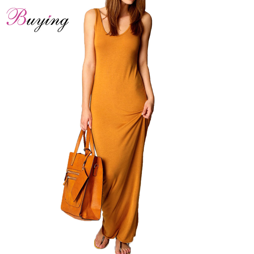 2016 Runway Women Dress High Quality Dresses Sexy Maxi Dress Solid O Neck Sleeveless Ankle Length Casual Long Summer Dress(China (Mainland))