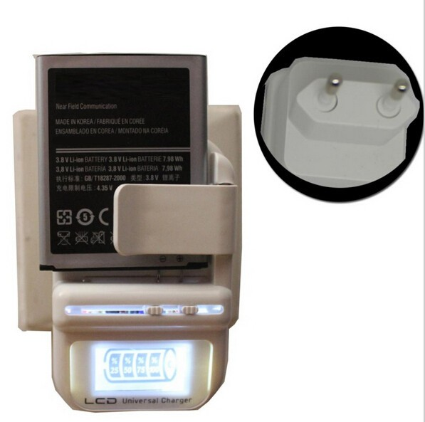 Hot Sale EU Plug LCD Indicator Screen Universal Travel LCD Battery Charger & USB Wall Mobile Phone Charger Free Shipping
