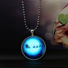 2015 Fashion Moon Deer Christmas Gift Glowing Necklace Round Shape Steampunk Necklace Pendants Long Chain Necklace For Women