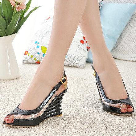 wedge sandals 2015 open toe buckle straps platform high heel summer shoes woman Transparent Shoes Patent PU Brand - ChengDu Fashion Factory store