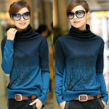 Hot New Women winter Crochet Knitted Cashmere Pullovers Branch Pattern Gradient Color Oversized Turtleneck Sweater Jumper S-XXXL(China (Mainland))