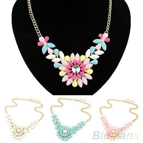 Women s Multicolor Resin Flower Crystal Pendant Collar Necklace Costume Jewelry necklaces pendants 04KQ