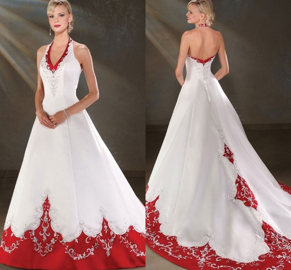 2016 backless halter satin a line cheap red and white for White wedding dresses cheap