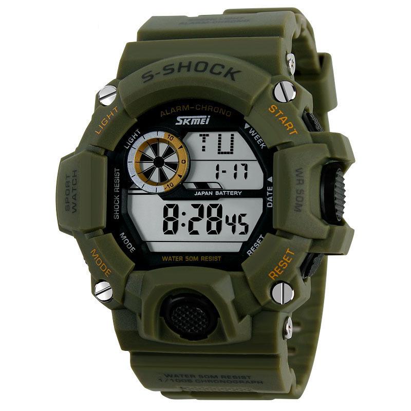 Новый военный часы мужские часы многофункциональный 50ATM ударопрочный камуфляж Rubbuer платье плавать спортивные часы мужские наручные часы