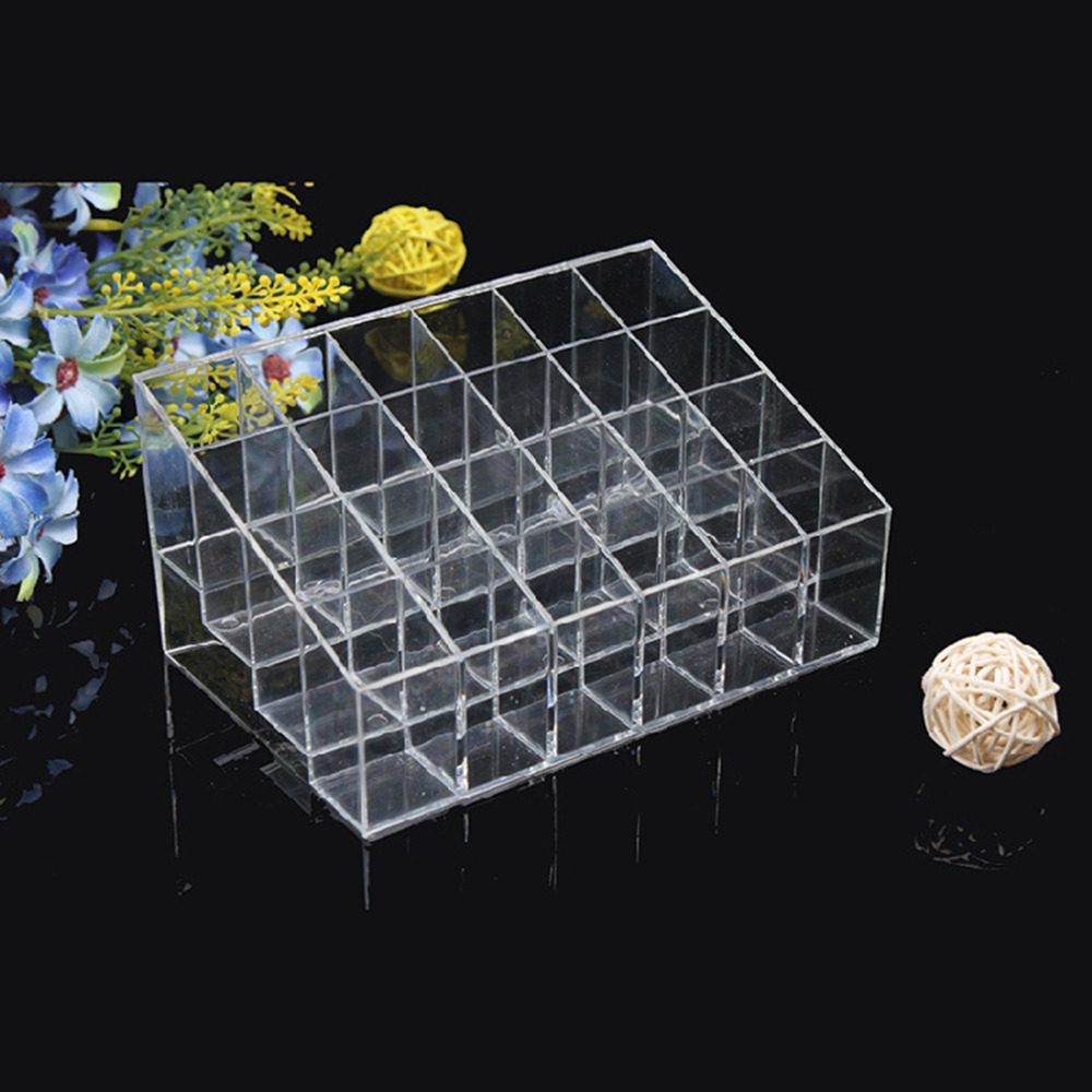 24 Lipstick Holder Display Stand Clear Acrylic Cosmetic Organizer Makeup Case Sundry Storage makeup case rangement maquillage(China (Mainland))