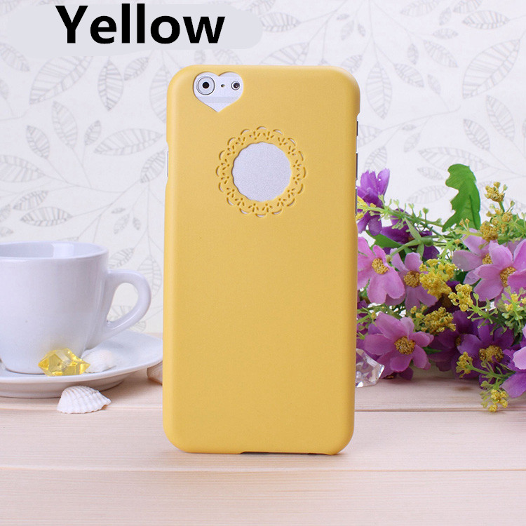 For The New iphone6 Plus Case New Cute candy Color Loving Heart Flower Lace Hard Phone Case Cover For iPhone 6 plus 5.5 inch