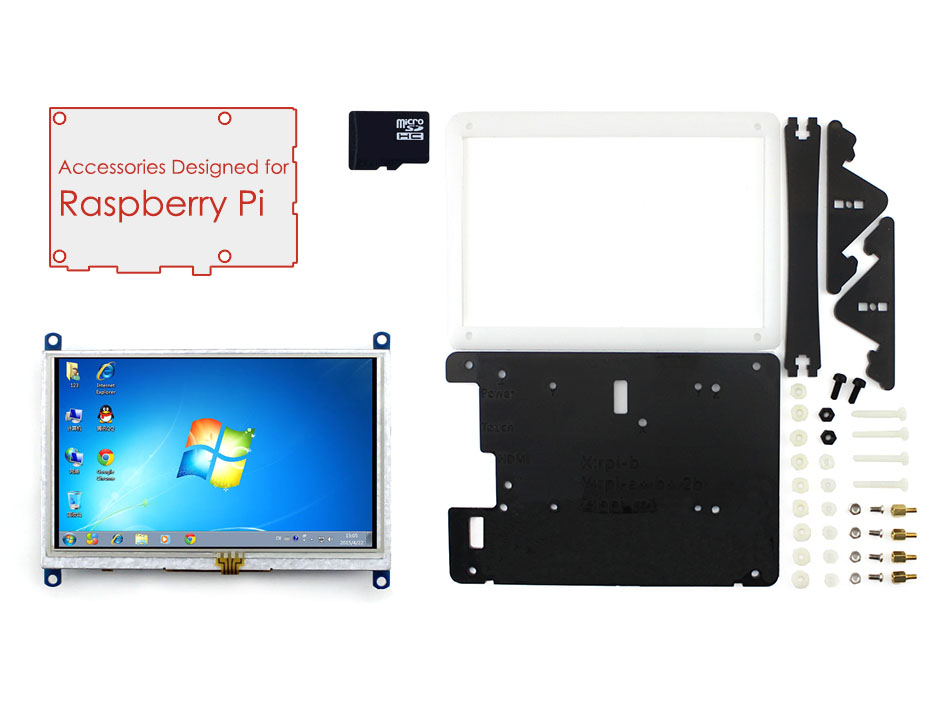 Raspberry Pi Accessory Pack with 5 inch HDMI LCD Display Support Mini PC& Raspberry Pi 3 B/2 B With Case&16GB Micro SD Card(China (Mainland))
