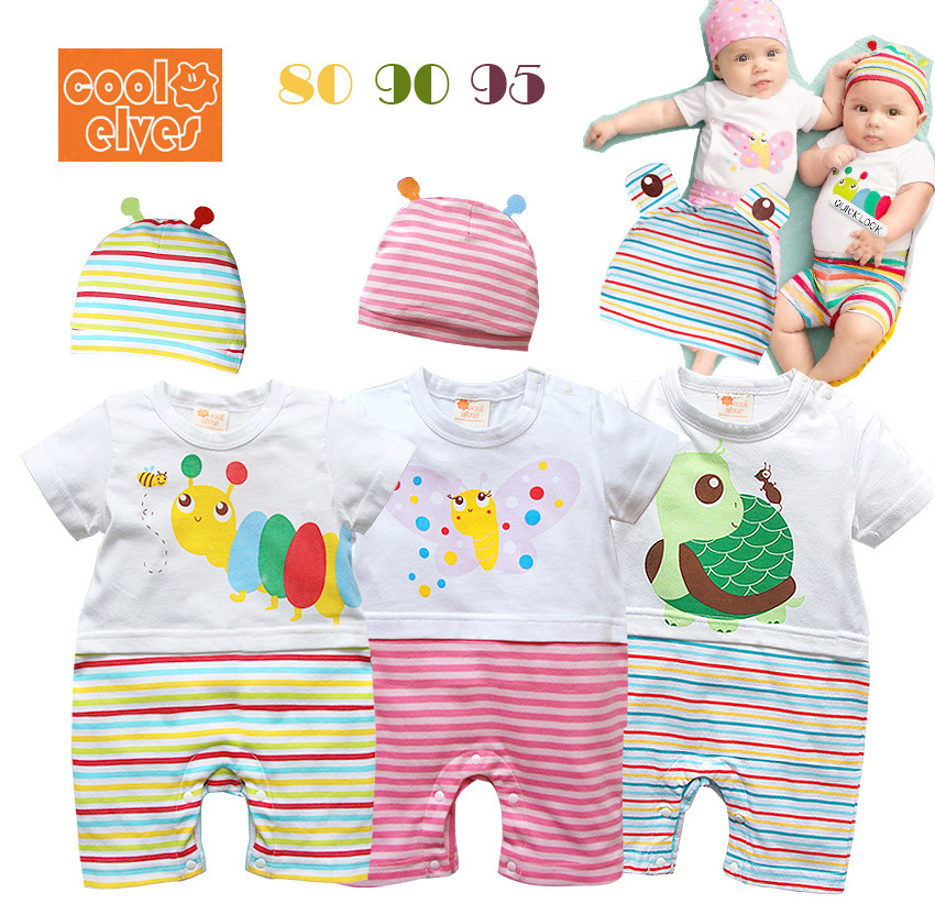 Wholesale Direct Selling Animal Open Stitch Selling 2014 Summer New Boys And Girls Cartoon Baby Romper Climb Two Sets of Clothes(China (Mainland))