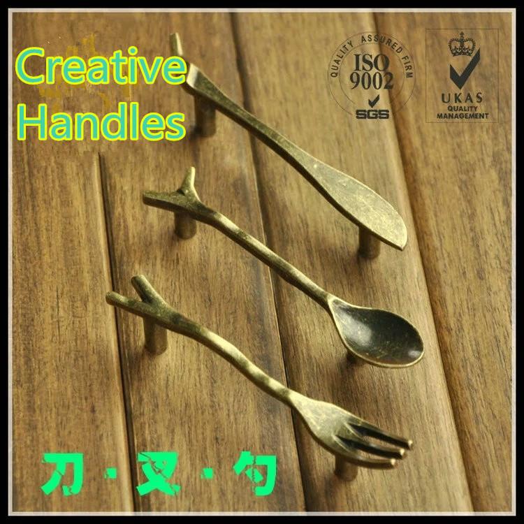 C:C: 76mm Creative Kitchen Cabinet Handles Cupboard Handles Closet Dresser Handles Drawer Pulls Knife Fork Spoon Bronze