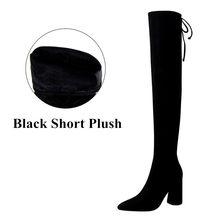 2019 neue Warme frauen Über-die-Knie Stiefel Wies Concise Solid Black Flock Lange Stiefel Casual Spitze -Up High Heels Schuhe für Frauen(China)