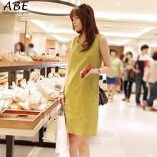 Summer Women Sleeveless Cotton Linen Dress Plus Size Casual Loose Dress Vestidos Free Shipping