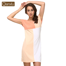 2014 summer fashionable casual women's lounge colorant match nightgown