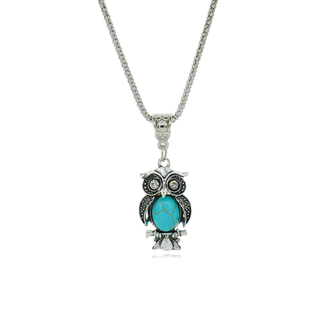 Charming Necklaces Owl Turquoise