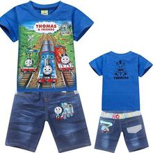 New 2016 cartoon baby hoodies jeans suit,spiderman children clothing sets,retail boys short sleeve t shirt pants Blue Gray(China (Mainland))