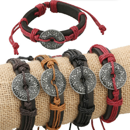 Fine Jewelry Vintage men genuine leather rope Bracelets Female male leather cord Bracelets male Jewelry accessories