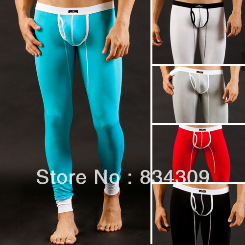 2PCS Lot Hot Sale Modal Sexy Mens Long Johns Thermal Underwear Pants Low Wasit Pouch Warm