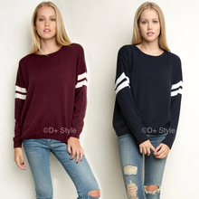 street style vintage stripe sleeve loose oversize knit casual sweater yy676(China (Mainland))