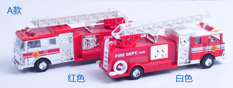 New Diya American fire truck ladder fire truck fire multiple sound and light alloy pull back toy car model(China (Mainland))