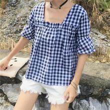 Mihoshop Ulzzang Korean Korea Women Fashion Clothing Harajuku all-match Shirt Short Sleeve loose cotton female 613 Free Shipping(China (Mainland))