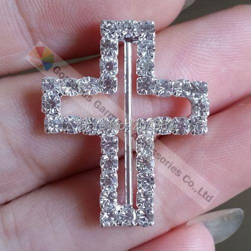 100PCS 22x28x22mm NEW Cross wedding invitation Czech crystal ribbon rhinestone slide buckle with Sliver Tone(China (Mainland))