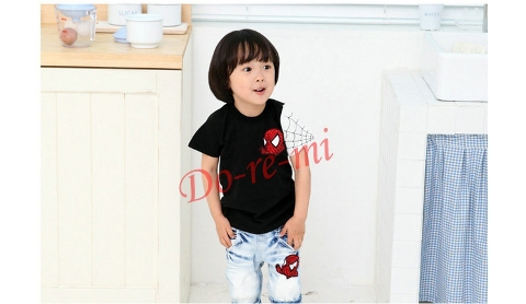 2015 new arrival boys retail short sleeve t shirts fashion spiderman design kids cotton tee shirt boy girl clothes(China (Mainland))