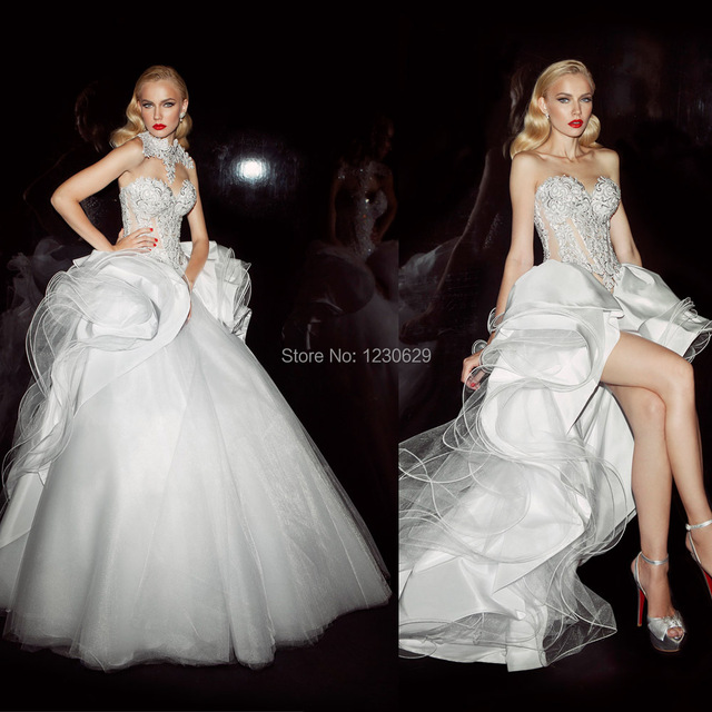 Convertible Wedding Gown Detachable Skirt: Stunning Sweetheart Backless With Detachable Neckline