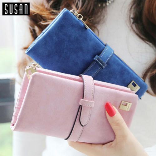 Susan' 2016 HOT !! Women Ladies Female Long Matte PU Leather Hasp Clutch Wallets Coin Purses Card Holder Handbag Monedero(China (Mainland))
