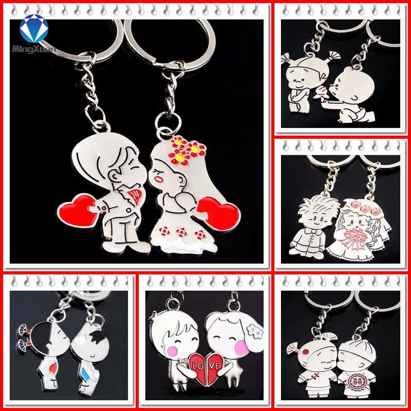 Novelty Items Casual Couple Love Keychain Cartoon Key chain Lovers Key ring Women Wedding Jewelry Accessory Valentines Gift(China (Mainland))
