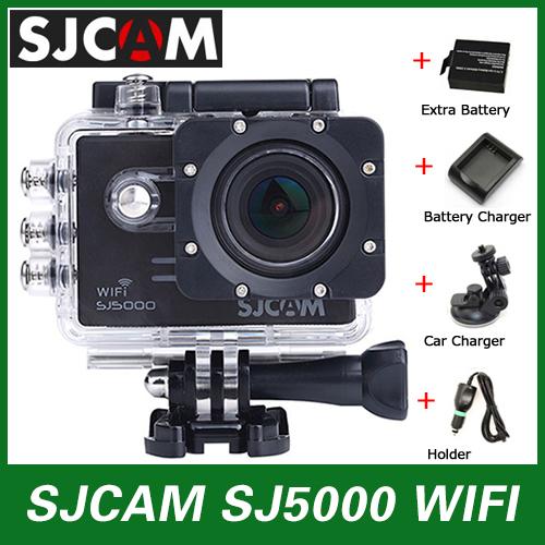 Original SJCAM SJ5000 Action Sport Camera WiFi Novatek 96655 1080P Waterproof camera+Car Charger+Holder+Extra Battery+Charger