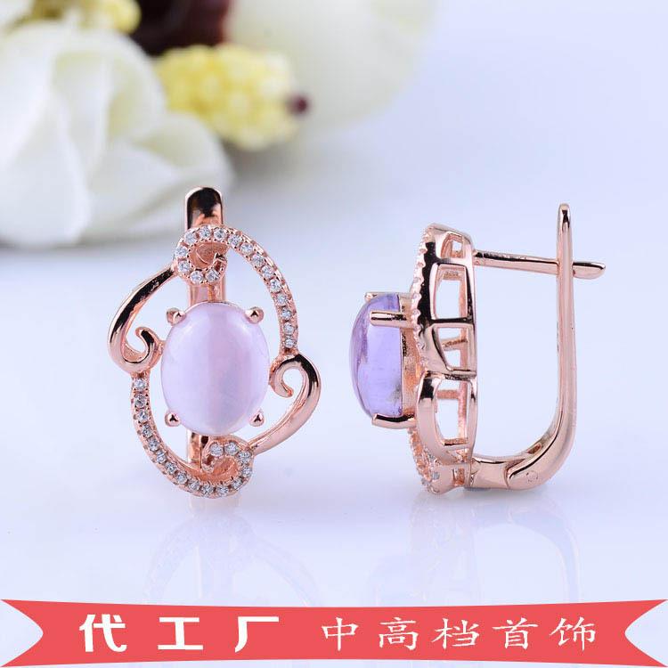Generous fashion ladies Amethyst Stud Earrings Earrings Sterling Silver Jewelry OEM S925 rose gold plating<br><br>Aliexpress