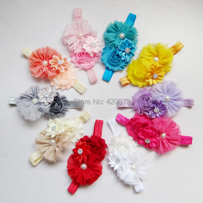 Free Shipping 10 Pcs/lot Baby Satin Flower Headband,Infant Elastic Headbands With Chiffon Flower,Elastic Hair Accessories(China (Mainland))